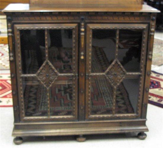 16: WALNUT AND MAHOGANY CABINET BOOKCASE, Kittinger  Fu