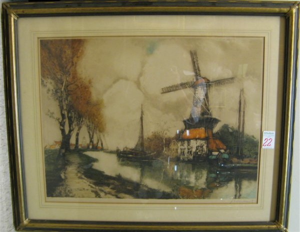 22: J. VAN SANTEN ORIGINAL COLOR ETCHING  (Belgian, 19t