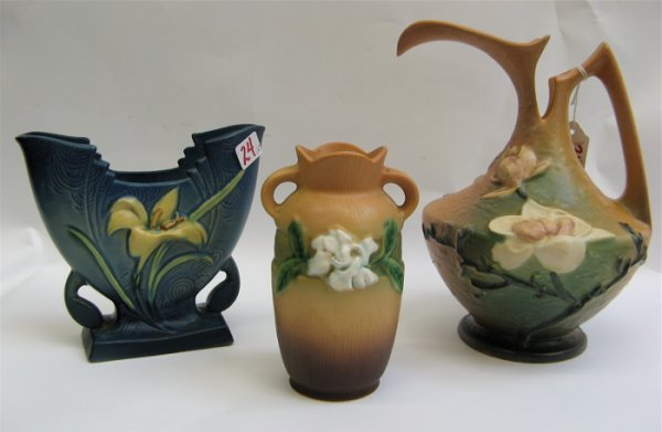 24: THREE AMERICAN ROSEVILLE ART POTTERY PIECES,  inclu