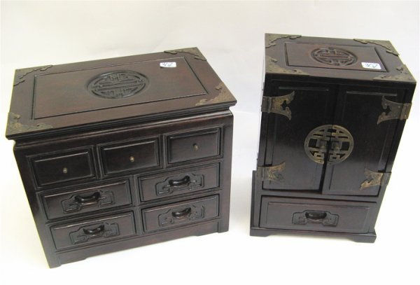 302: TWO CHINESE ROSEWOOD JEWELRY BOXES. One with two d