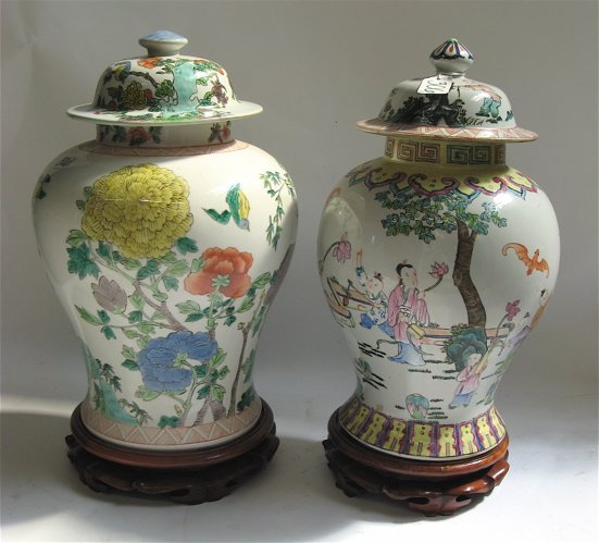 306: TWO CHINESE PORCELAIN COVERED GINGER JARS,  16-1/2