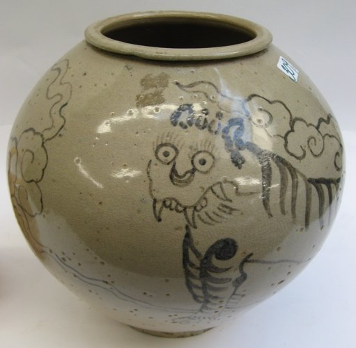 309: TWO GLAZED ART POTTERY VASES; the larger, an  ovoi