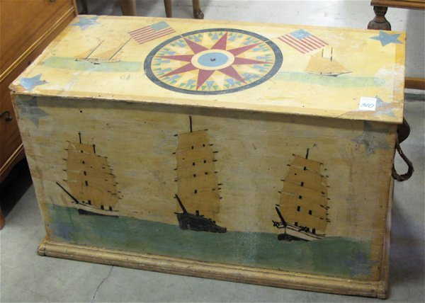 310: VINTAGE BOY'S ROOM TOY CHEST, American, c.  1950's