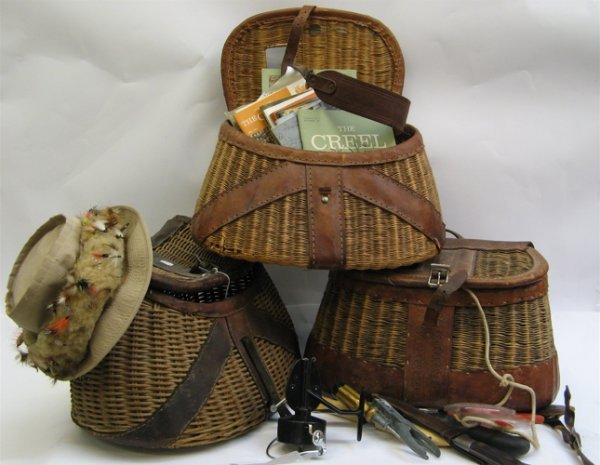 316: THREE WICKER AND LEATHER FISHING CREELS with  cont