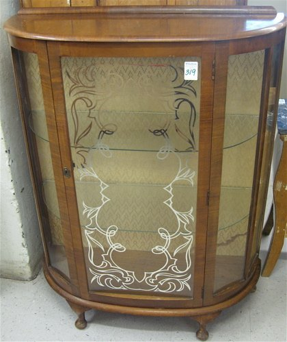 319: GLASS AND WALNUT CHINA DISPLAY CABINET, Queen  Ann
