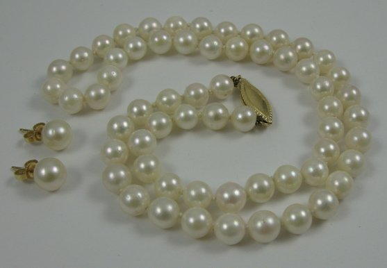 322: THREE ARTICLES OF PEARL AND 14K GOLD JEWELRY,  inc