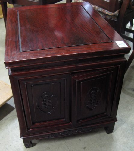 529: PAIR OF CHINESE ROSEWOOD END CABINETS, each of  re