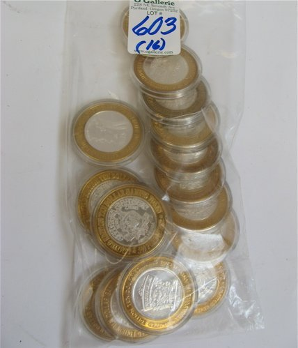 603: SIXTEEN .999 STERLING SILVER GAMING TOKENS in $10