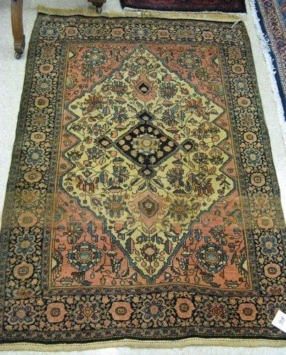 616: SEMI-ANTIQUE PERSIAN FARAHAN AREA RUG, hand  knott