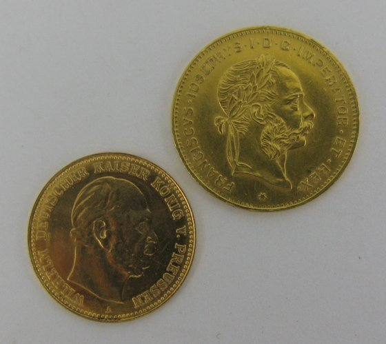 618: TWO NINETEENTH CENTURY EUROPEON GOLD COINS: 1877 P