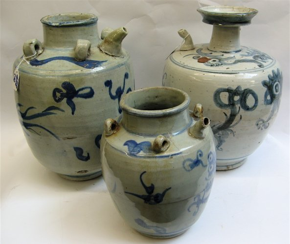 628: THREE CHINESE POTTERY OIL JARS, hand painted  with