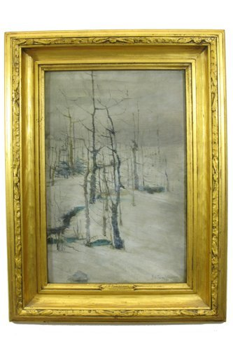 763: JOHN HENRY TWACHTMAN OIL ON CANVAS laid down on  w
