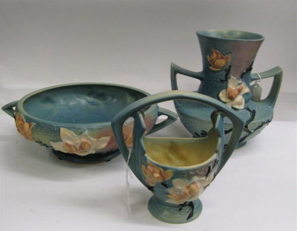 """1: THREE ROSEVILLE POTTERY PIECES in the """"Magnolia"""" pat"""