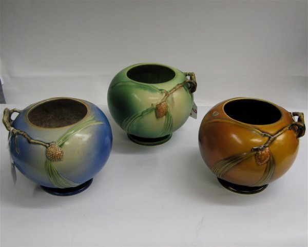 """2: THREE ROSEVILLE POTTERY BOWLS in the """"Pinecone""""  pat"""