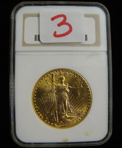 3: U.S. TWENTY DOLLAR GOLD COIN, St. Gaudens type,  192