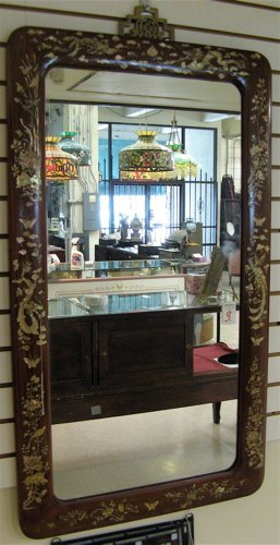 5: A CHINESE HEAVY RECTANGULAR WALL MIRROR with  rounde