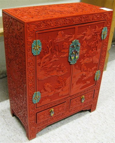 10: CHINESE CLOISONNE AND RED CINNABAR TABLE-TOP  CABIN