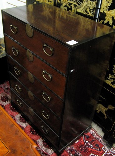 16: JAPANESE STYLE FIVE-DRAWER CHEST, of small size  wi