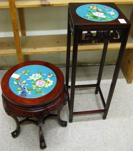 18: TWO CHINESE ROSEWOOD TABLES WITH CLOISONNE DISK  TO