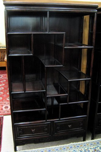 65: CHINESE ROSEWOOD ETAGERE, the open front  exhibitin