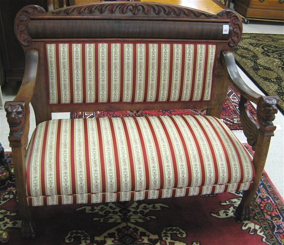 168: EMPIRE REVIVAL SETTEE AND CHAIR SET, American,  c.