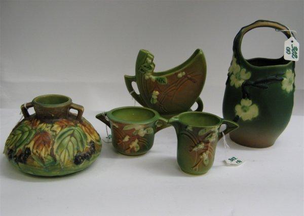 302: FIVE PIECES ROSEVILLE POTTERY: 4 in. squat vase  i