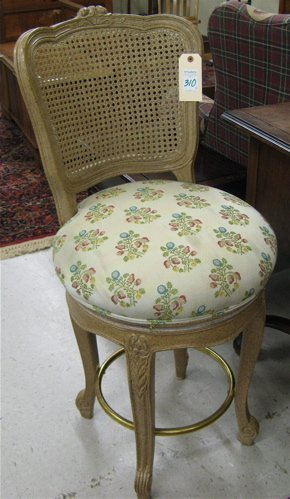 310: A SET OF THREE LOUIS XV STYLE BARSTOOLS, made by I