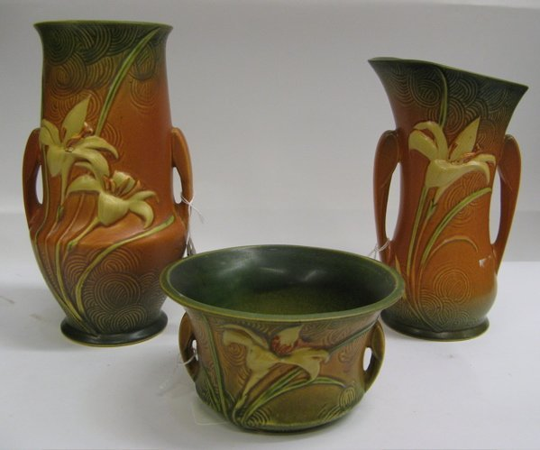 311: THREE ROSEVILLE POTTERY PIECES in the Zephyr  Lily