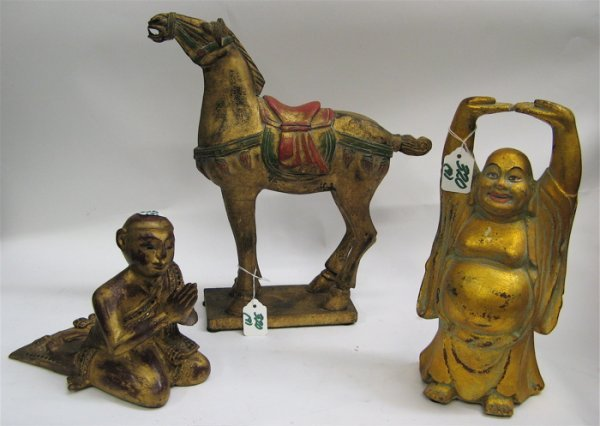 320: NINE CHINESE CARVED WOODEN FIGURES, ANIMALS, AND B