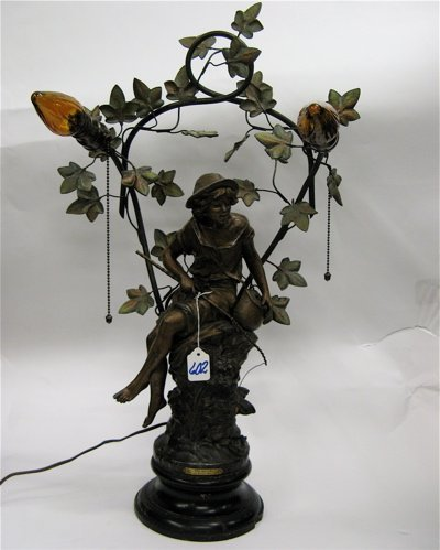 602: FRENCH SPELTER FIGURAL TABLE LAMP. Barefoot boy  w