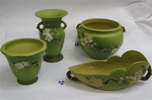 606: FOUR ROSEVILLE POTTERY PIECES in the Apple  Blosso