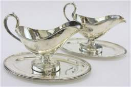 739 PAIR FRENCH CHRISTOFLE SILVER PLATED GRAVY BOATS
