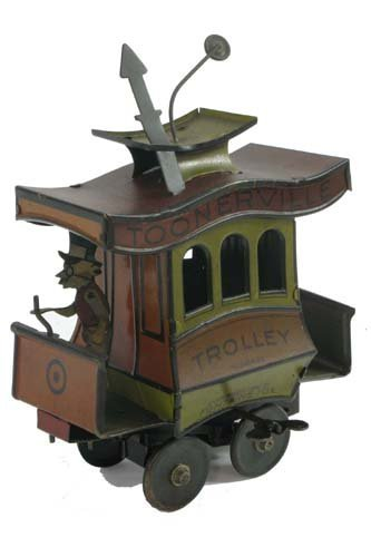 2: TOONERVILLE TROLLEY TIN WIND UP TOY,  chromolithogra