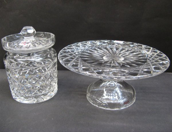 9: TWO WATERFORD CRYSTAL PIECES: a covered biscuit  jar
