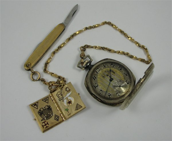28: POCKET WATCH, CHAIN, POCKET KNIFE AND GOLD BOOK  FO