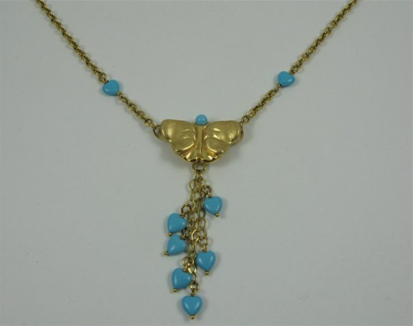 "30: TURQUOISE AND 14K GOLD NECKLACE, 17-1/4"" in  length"