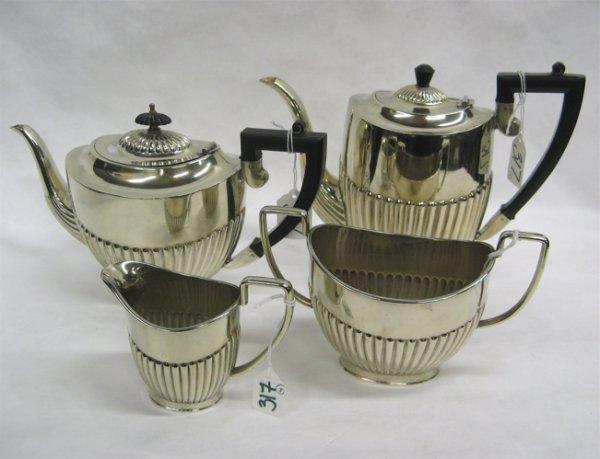317: ENGLISH SHEFFIELD SILVER PLATED COFFEE & TEA SET,