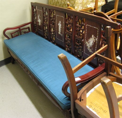 327: CHINESE INLAID ROSEWOOD SOFA, the back having  thr