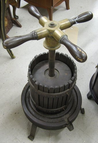 505: THREE FRENCH VINEYARD COLLECTIBLES: grape press,