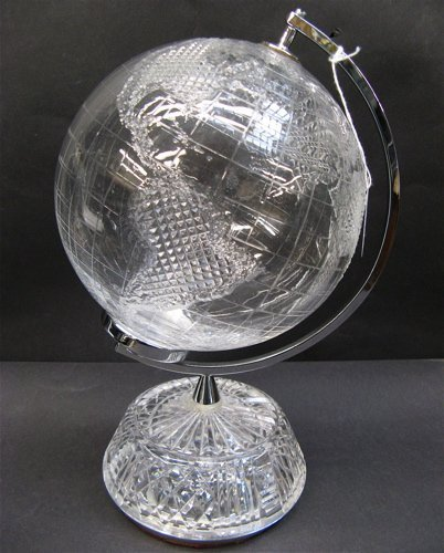 605: IRISH WATERFORD CRYSTAL WORLD GLOBE, hand cut  and