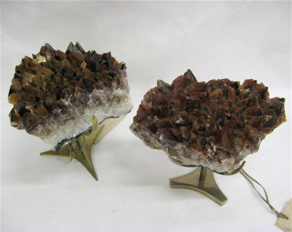 606: TWO GOLDEN DOGTOOTH CALCITE CRYSTAL COLLECTOR'S  S