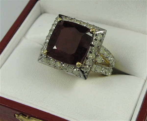 612: RUBY, DIAMOND AND 14K GOLD RING WITH APPRAISAL,  c