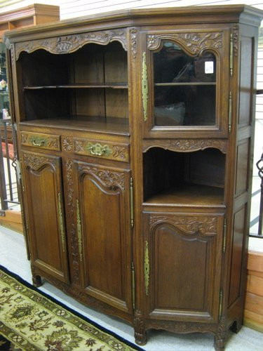 619: LOUIS XV STYLE CARVED OAK CHINA CABINET, French, e