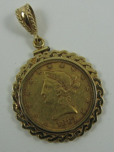 1001: U.S. GOLD COIN PENDANT, 14K yellow gold pendant