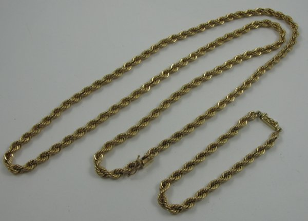 1009: 14 KARAT GOLD ROPE CHAIN NECKLACE AND  BRACELET