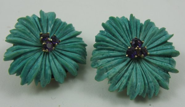 1017: PAIR OF CARVED TURQUOISE EAR CLIPS, each a carved