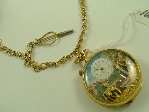 1023: SWISS AUTOMATON MUSIC BOX POCKET WATCH, Arnex  Ti