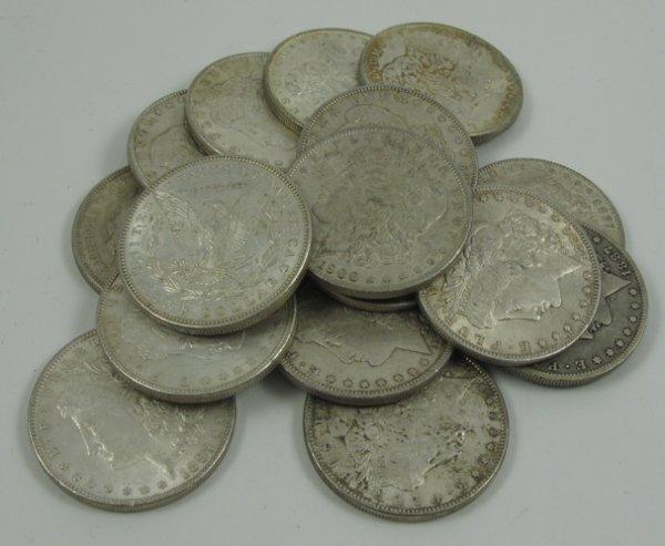 5: SIXTEEN U.S. SILVER  MORGAN DOLLARS, mint  dates: 18