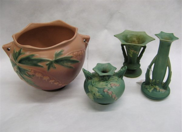 7: FOUR AMERICAN ROSEVILLE ART POTTERY PIECES, in  the