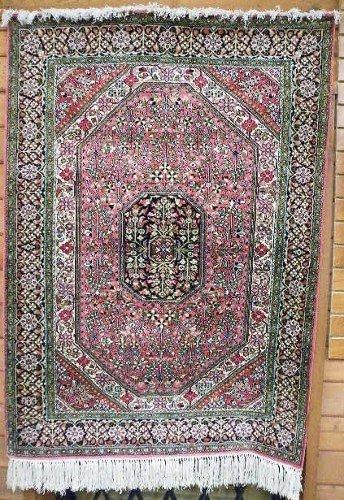 12: SILK AREA RUG, Persian Qum design, floral and  cent